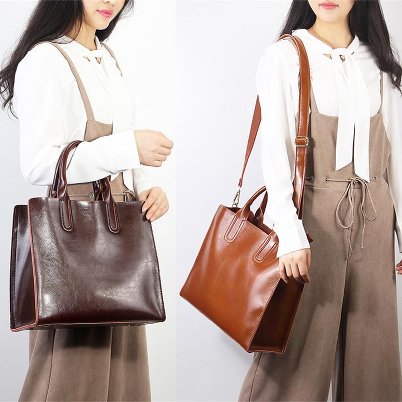 Image 3 - Burminsa Ladies Genuine Leather Bags Vintage Female Shoulder Messenger Bags Large Capacity Women Handbag 2019 Black Coffee Brown-in Shoulder Bags from Luggage & Bags