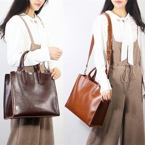 Image 2 - Burminsa خمر لينة المرأة حقيقية حقائب يد جلدية سعة كبيرة العمل الإناث حقائب كتف عالية الجودة السيدات حقيبة ساع