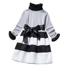 BOTEZAI girls dress autumn fashion children clothing dresses kids Striped Princess Dress Long Sleeve clothes