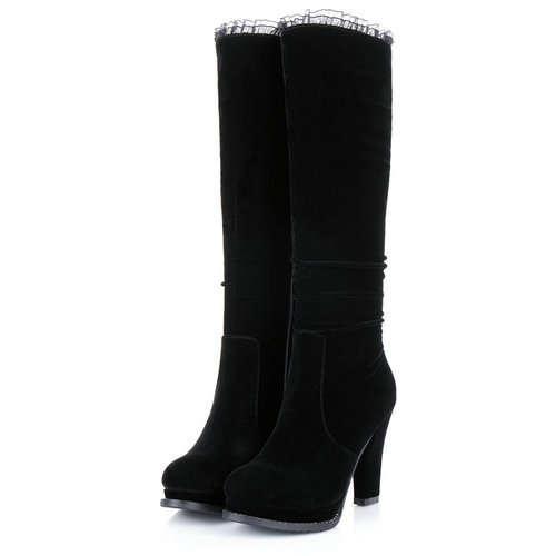 ab5ea9ce Classic negro grueso de tacón alto botas de gamuza mujeres botas de ...