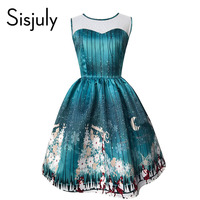 Sisjuly Women Vintage Christmas Dress Autumn Sleeveless Print Party Dress Evening Summer Fall Pullover 2017 Christmas