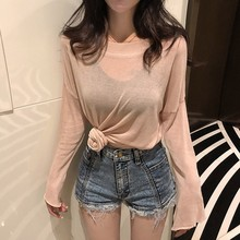 Sexy Women T Shirt Summer Thin Round Neck Casual Knitting Tops Loose Sun Protection Beach Solid Female T-Shirt