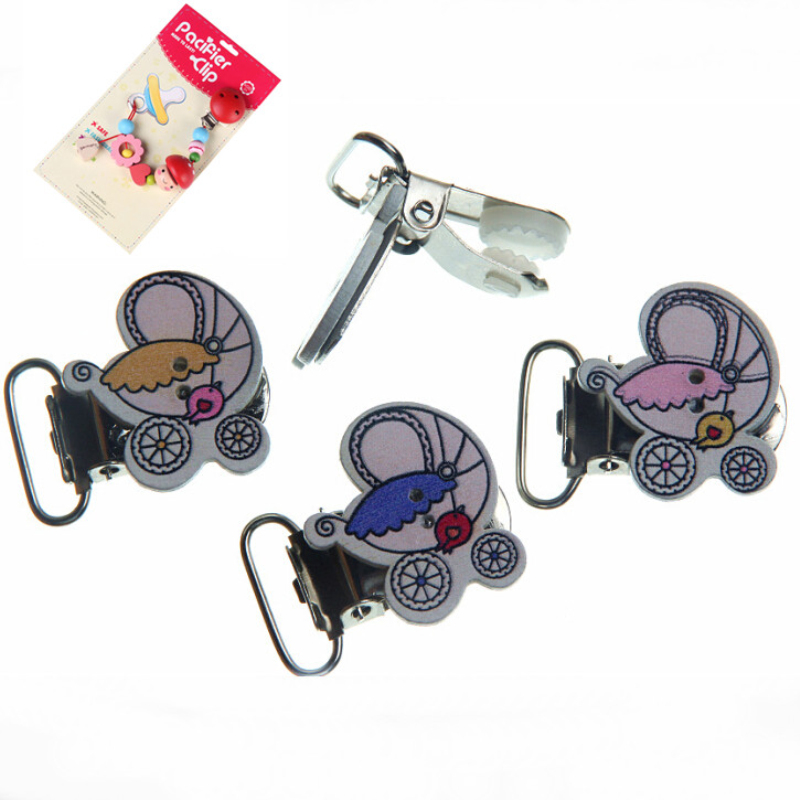 5Pcs Mixed Strollers Pattern Handmade Wood Baby Pacifier Clip Wood Metal Holders Infant jewelry findings & components Diy