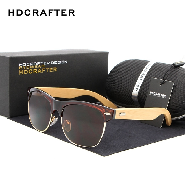 91bca8e476146 HDCRAFTER Semi-Rimless Wood Sunglasses PC Frame Handmade Bamboo Sunglass Men  Wooden Sun Glasses Women