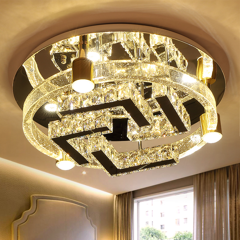 IWHD K9 Crystal Ceiling Lighting Tricolor dimmable Lamparas de Techo Mdern Led Ceiling Light Fixtures Bedroom Luminaire Lustre