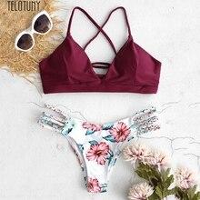 TELOTUNY женский купальник из двух частей, женский купальник бикини с цветочным рисунком, купальник из двух частей, купальный костюм, пляжная одежда, нейлоновый летний купальник