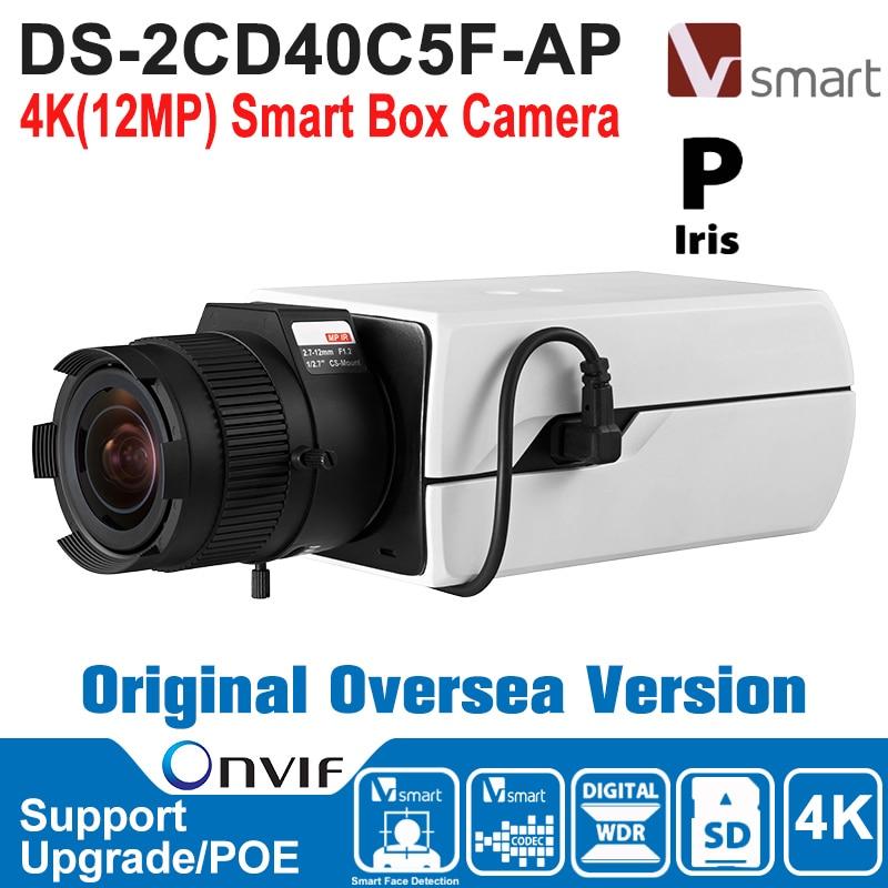 HIK  IP Camera 12MP DS-2CD40C5F-AP IP Camera POE 4K Smart Box Camera IP Camera Built-in Micro SD/SDHC/SDXC Card H.264+ 40 cd