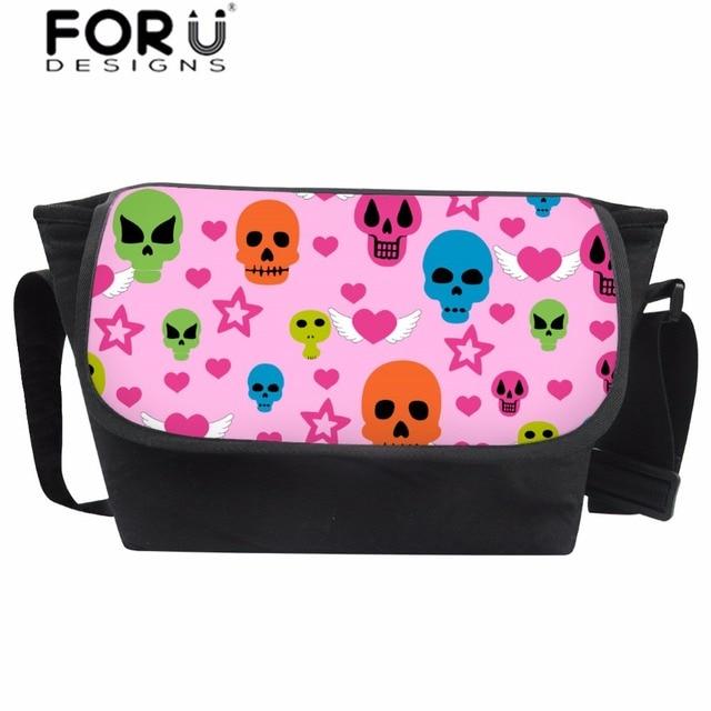 9fd9c8e736 FORUDESIGNS Messenger Bag Women Pink Cartoon Skull Prints Crossbody Bag  Star Pattern Canvas Shoulder Bags for Girls Cute Satchel