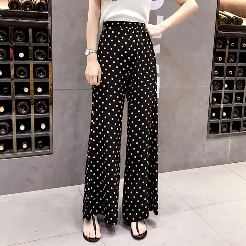 Summer Women   Pants   Loose Polka Dot Print   Wide     Leg     Pants   Loose Elastic High Waist Straight Trousers WS7404E