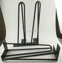 Free Shipping 16IN 40CM Hairpin Legs Black Coating Color Fashional Tea Table Legs Home Decoration Unique Metal Used Table Legs(China)