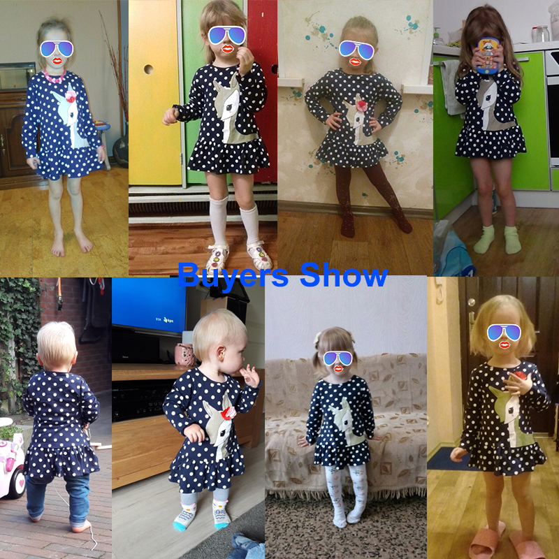 New Year Dresses for Girls Cartoon Deer Children Winter Dress Long Sleeve Tunic Dot Print Children Tops Clothes 1