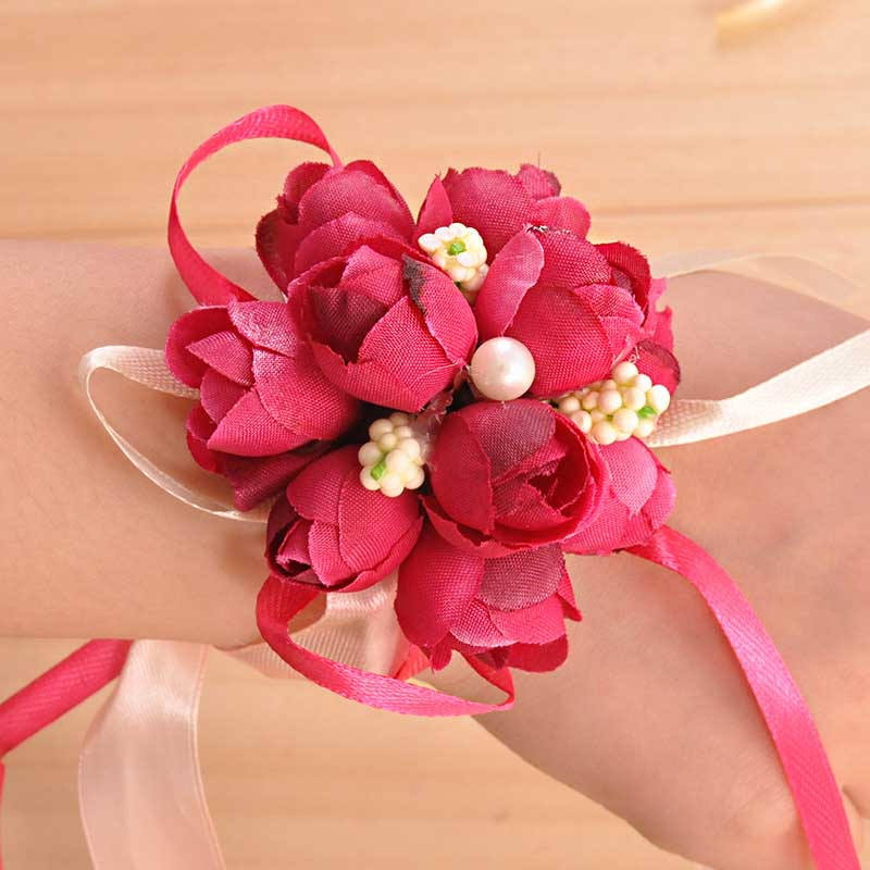 Artificial Decorations 1pcs Corsage Wrist Flower Rose Silk Ribbon Bride Corsage Hand Decorative Wristband Bracelet Bridesmaid Curtain Band Clip Bouquet Lovely Luster