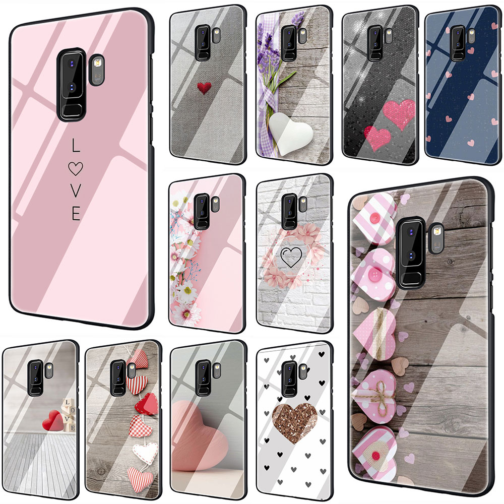 Lovely pink heart Tempered Glass TPU Black Cover Case for Galaxy S7 Edge S8 S9 Plus S10 Note 8 9 10 A10 20 <font><b>30</b></font> <font><b>40</b></font> <font><b>50</b></font> <font><b>60</b></font> <font><b>70</b></font> image
