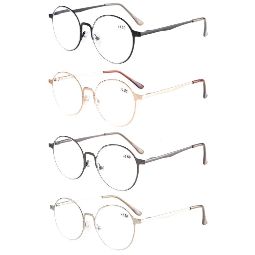 f4b575b7b Eyekepper R15044 ميكس 4-Pack جودة الربيع hings ريترو جولة نظارات القراءة +  0.00 -