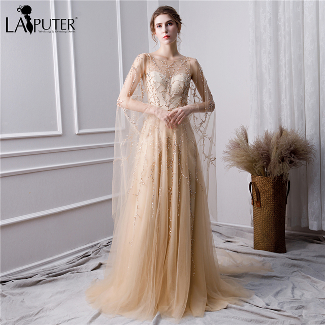 428ccde5ef3dc LAIPUTER 2019 New Evening Dresses with Luxury Beading Crystal Scoop Neck V-back  Cape Champagne Gold Prom Dresses Long Elegant