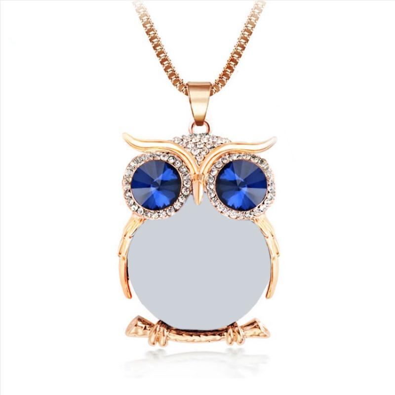 8 Colores Trendy Owl Necklace Moda Rhinestone Cristalino Joyería - Bisutería - foto 2