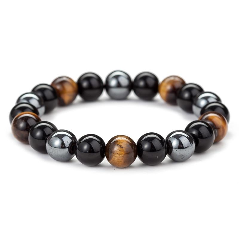 10 MM Tiger Eye Natural Black Obsidian Stone Beads Bracelet Hematite Bangle For Women Men Health Protection Minimalist Jewelry