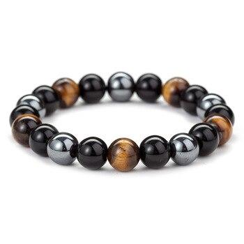 Bracelet De Protection Oeil Du Tigre Obsidienne Et Hématite