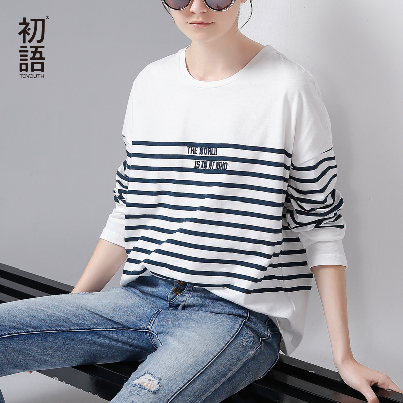 Toyouth T Shirt 2017 Spring Women Stripe Letter Embroidery Casual Batwing Sleeve O Neck Tees Tops|tee long|t-shirt in hong kongtee holder - AliExpress
