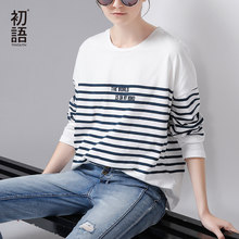 Toyouth T-Shirt 2017 Spring Women Stripe Letter Embroidery Casual Batwing Sleeve O-Neck Tees Tops(China)