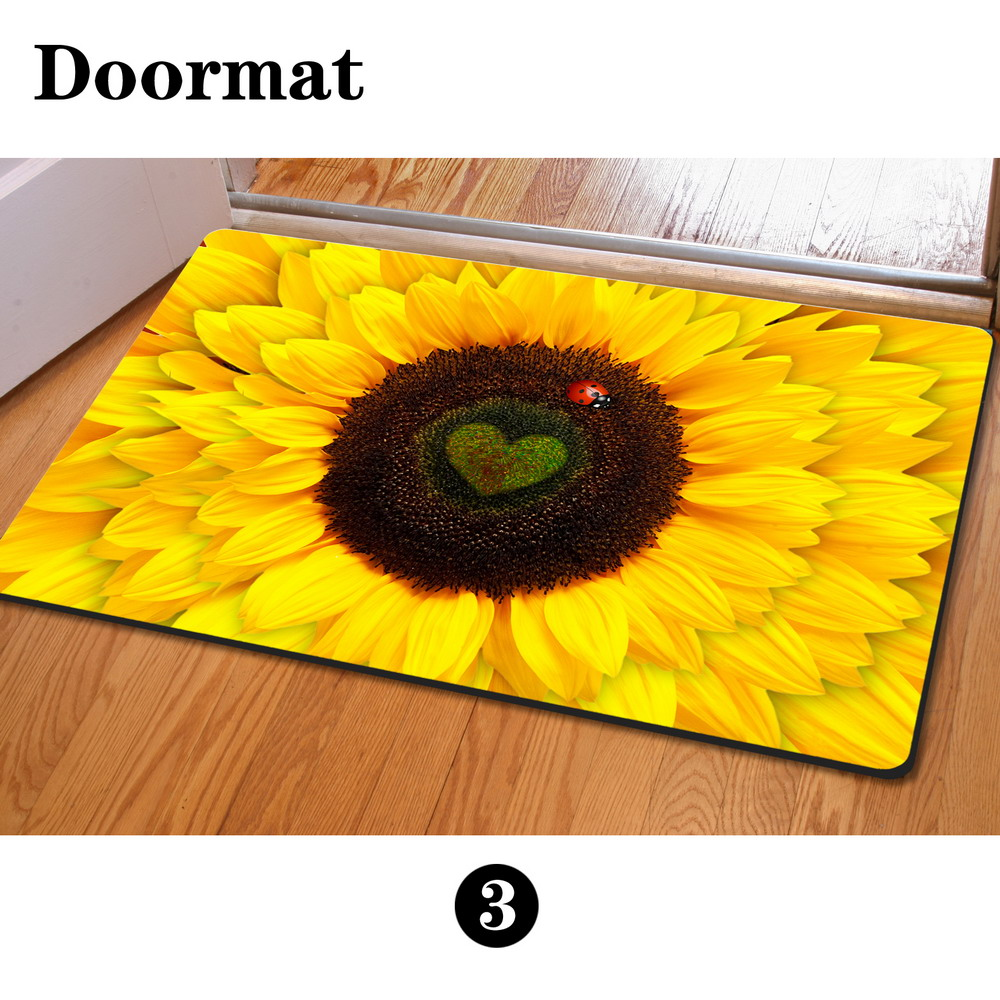 Rubber floor mats cheap - Fashion Bedroom Floor Mats Slip Resistant Entrance Doormate Pad Sunflower Cute Cat Print Horse Kitchen