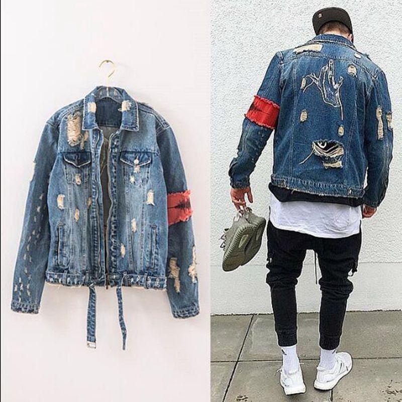 2018 New Men Hip Hop forum Wearing patchwork Denim jacket