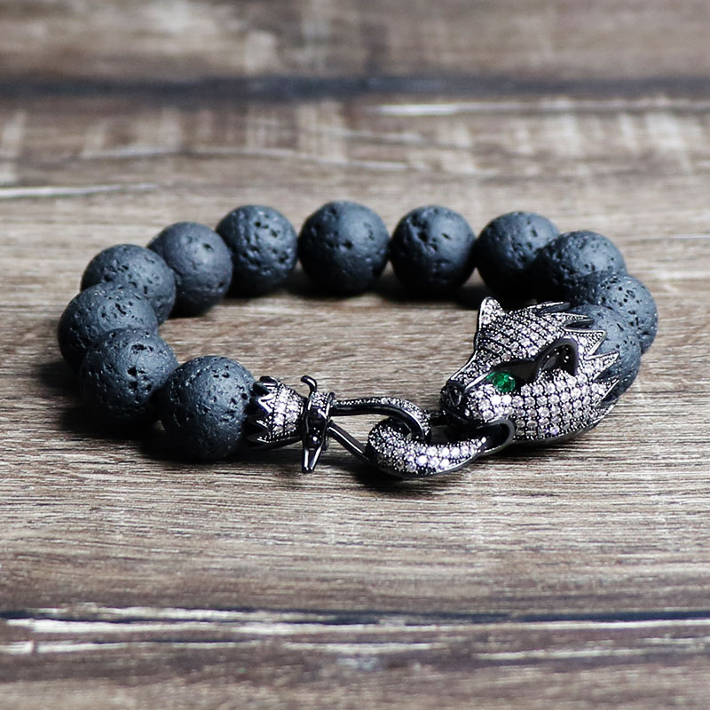 Trendy Black Leopard Micro Pave Zircon Vintage Lava Rock Jewelry Men 12mm Nature Black Volcanic Lava Stone Charm Bracelet