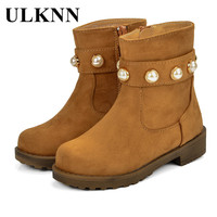 ULKNN Warm Boots Kids Winter Shoes Girls Fur Leather Plush Sole Pearl Cowboy Style Snow Boots