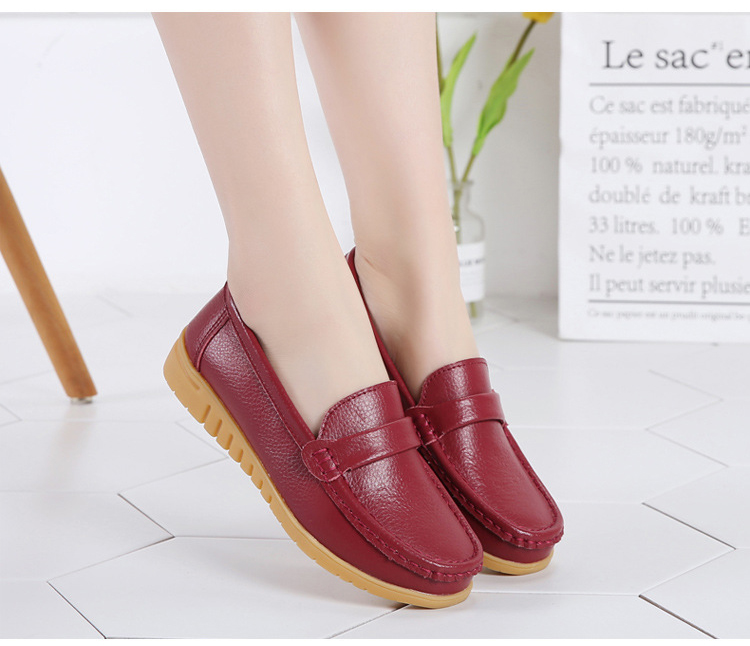 AH 2020-2019 Spring Autumn Women Loafers Genuine Leather Woman's Flats-9