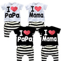2015 Hot Sale Kids I Love Mama Striped Clothing Set for Girls Cotton Brand Design I Love Papa Baby Boys Homewear Pajamas, C087