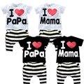 2015 venda quente crianças eu amo Mama listrado conjunto de roupas para meninas algodão marca de Design eu amo papai do bebê meninos Homewear pijamas, C087