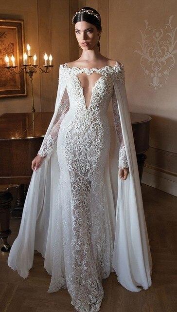 1bb991c9a Vestido de noiva sereia 2018 New Vintage Lace Frisada Piso comprimento da  Sereia Manga Comprida vestido