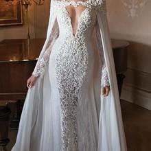 vestido de noiva sereia 2016 New Vintage Lace Beaded Floor Length Mermaid Long Sleeve Berta Bridal
