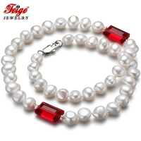 Feige Special Offer Baroque Style 7 8MM White Freshwater Pearl Necklace For Women Red Crystal De