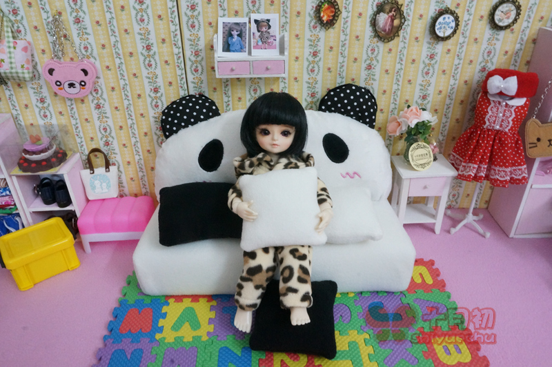 Free shipping high quality 5pcs/set Sofa +4 pillow Doll accessories for Blythe Licca 1/4 1/6 1/8 BJD doll Christmas Toys Gift цена и фото