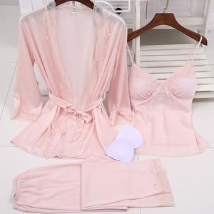 Image 3 - Ladies Sexy Silk Satin Pajama Set Lace Sleepwear Set Fashion Home Clothing V neck Nightwear Bathrobe+Top+Pant 3 Pieces For Women