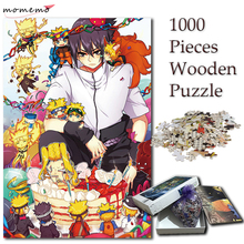 MOMEMO Cute Naruto Sasuke Jigsaw 1000 Pieces Puzzles Wooden Cartoon Pattern Puzzle for Adults Anime Game Toys