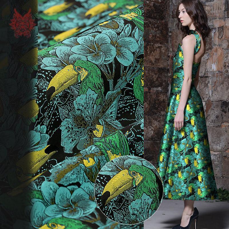 Tissu de brocart de jacquard floral d'oiseau vert de style américain de haute qualité pour la robe de manteau tissu de tissu d'épaisseur moyenne tejido SP2336