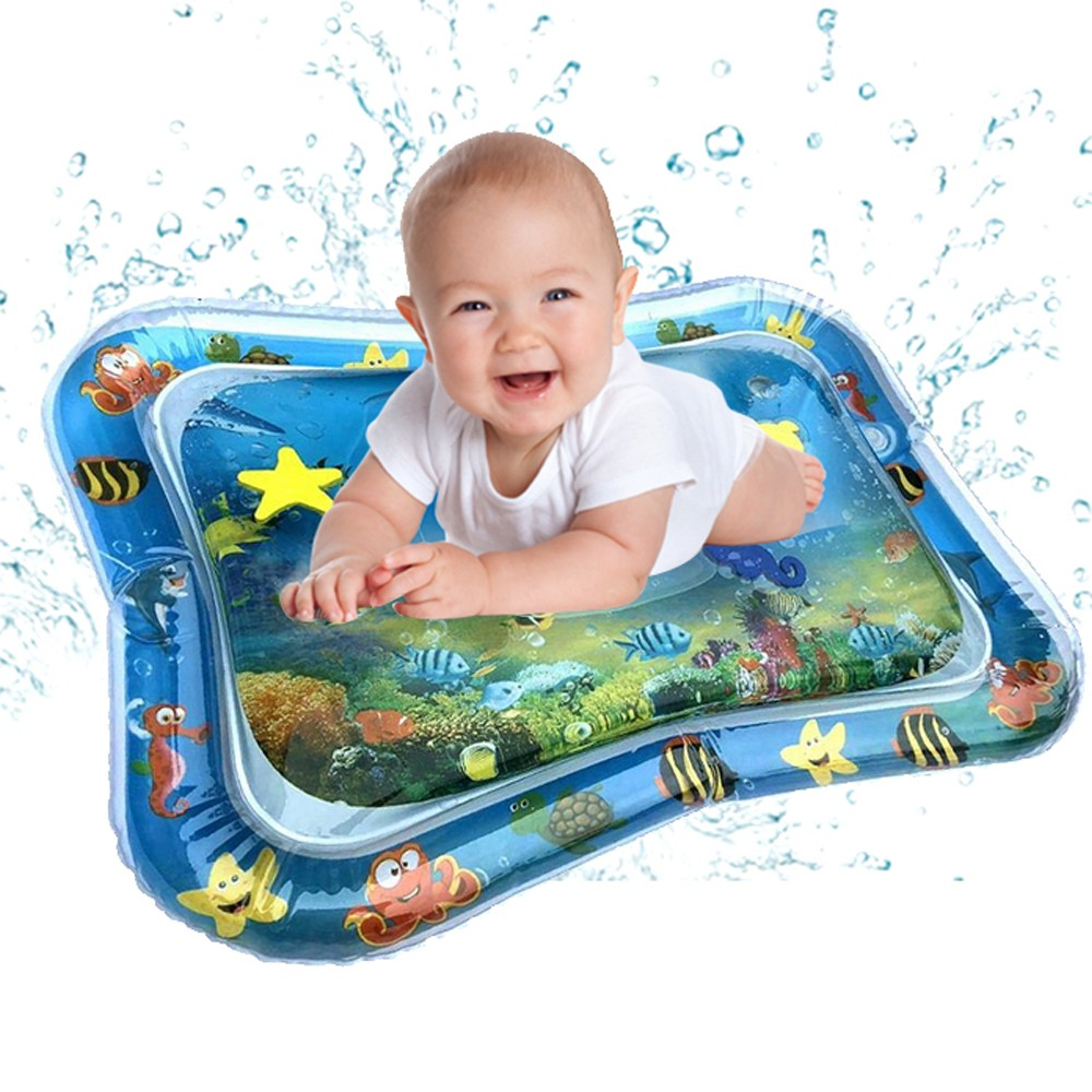 Inflatable Baby Water Mat Infant Tummy Time Playmat Toddler Fun Activity Play Center for sensory stimulation, motor skills box clutch purse