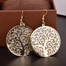 LNRRABC Sale   Fashion 3 Colors Hollow Tree Design Round Shape Gold Color Earring Women Jewelry