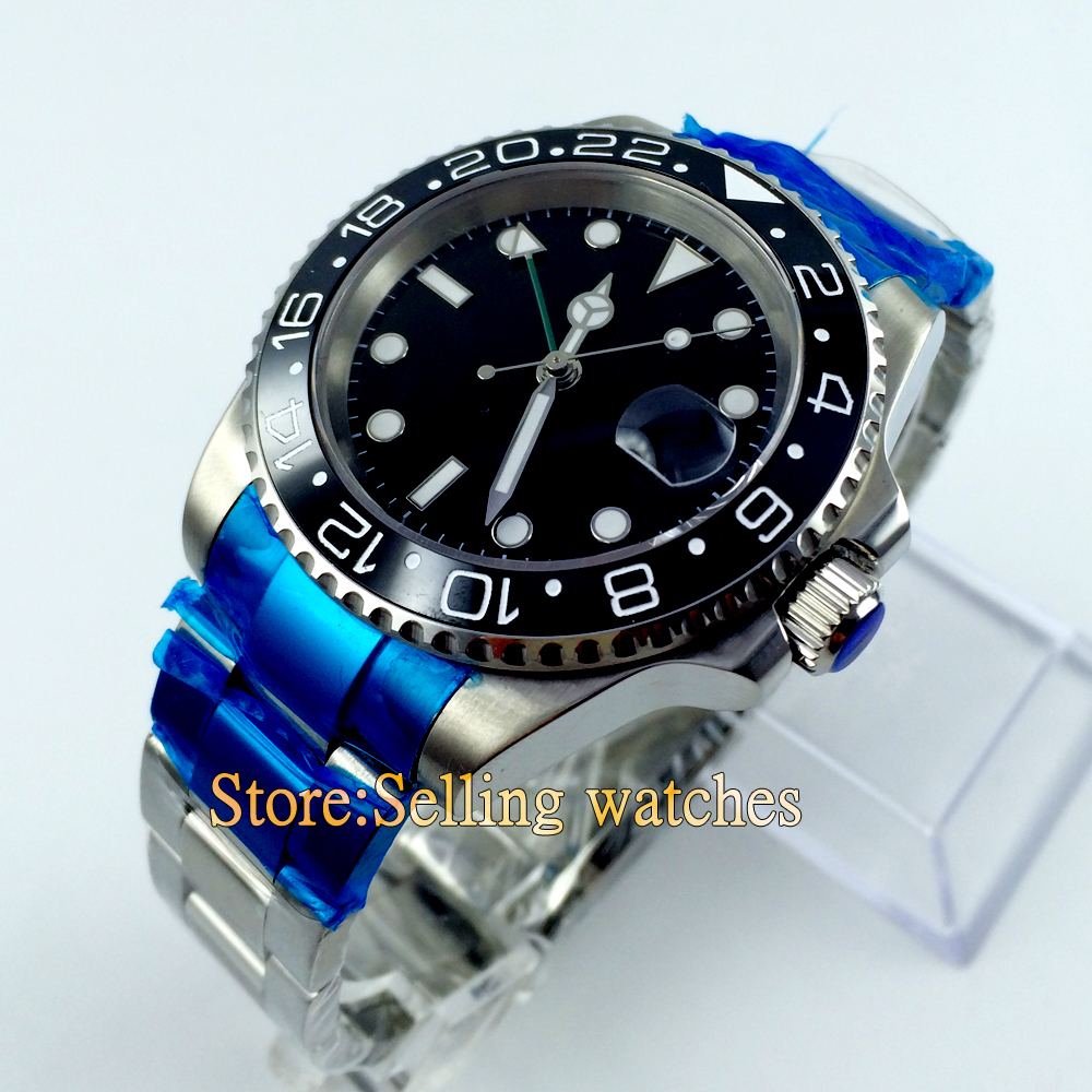 Parnis 40mm ceramic bezel GMT movement sapphire glass watch цена