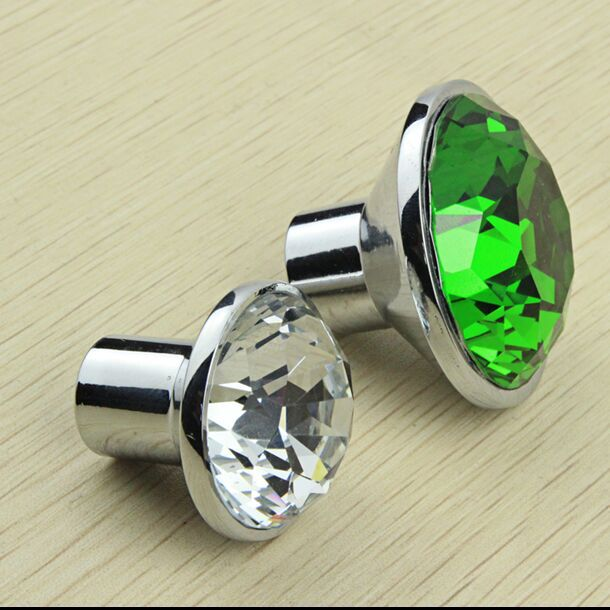 35mm Fashion K9 Clear Crystal Wine Cabinet Knobs Green Dresser Cupboard  Door Pull Silver Drawer Funrinture