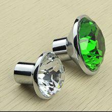35mm fashion K9 Clear Crystal Wine Cabinet knobs Green dresser  Cupboard door  Pull Silver Drawer  Funrinture door handles knobs