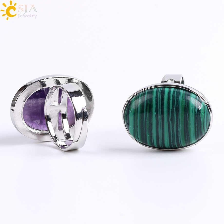 CSJA Reiki อัญมณีแหวนสำหรับผู้ชายผู้หญิงสีชมพูควอตซ์ Tiger Eye Lapis Lazuli สีดำ Obsidian แหวนเครื่องประดับ E832