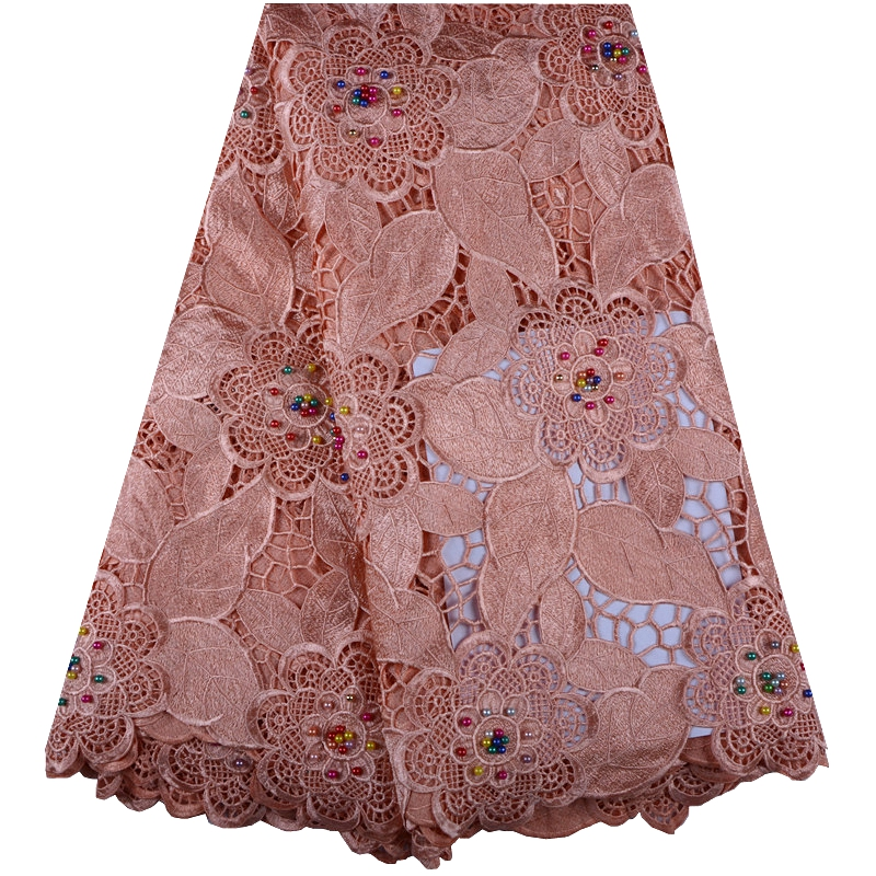 Peach Color African Lace Fabric 2018 African Guipure Cord Lace High Quality Embroidery Beaded Lace Fabric For Wedding F1016