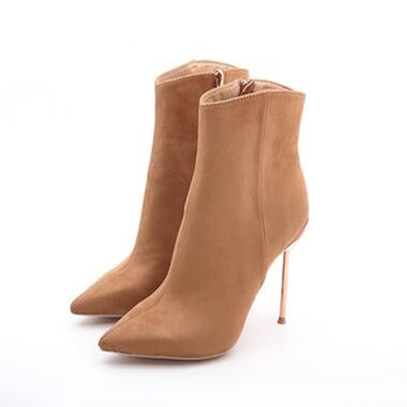 2018 Women Boots Flock Warm Ankle Boots Pointed Toe Spring/Atumn High Heels Sexy Ladies Party Western Boots Big Size 34-43 memunia ankle boots for women high heels shoes woman pointed toe fashion boots female party flock solid big size 34 43