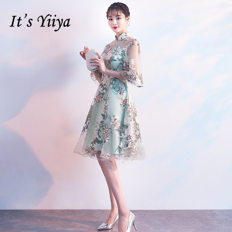 It's YiiYa Luxury Light Green Half Sleeve Floral Print Lace   Cocktail     Dress   Knee-Length Formal   Dress   Party Gown MX022