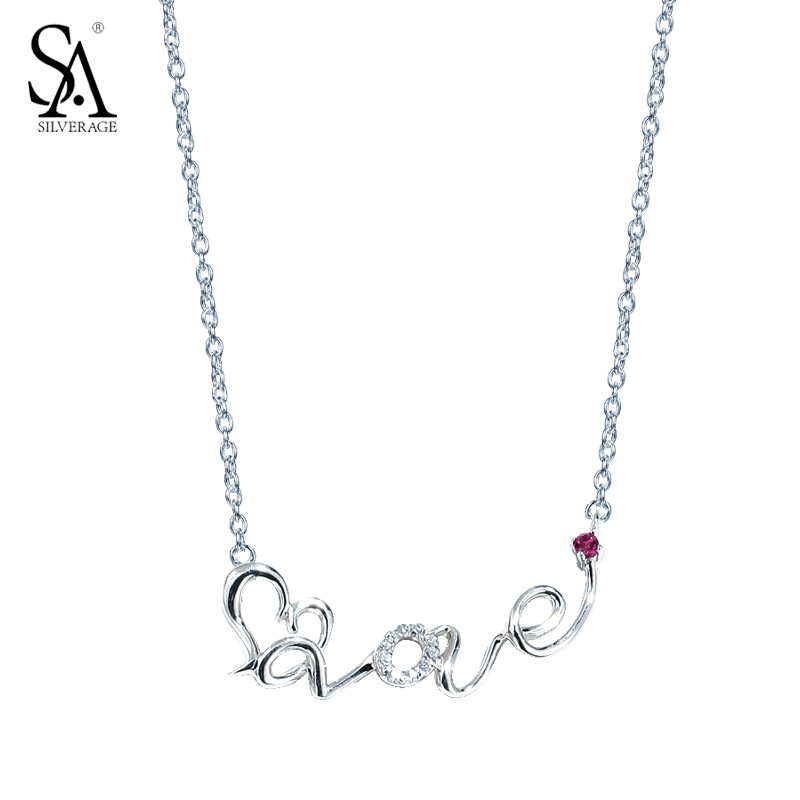SA SILVERAGE Real 925 Sterling Silver Necklaces For Women Long Chain Love Heart Lettter Necklace Word Love for Clavicle Pendant cute love heart hollow out kitten pendant necklace for women