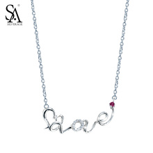 SA SILVERAGE Real 925 Sterling Silver Necklaces For Women Long Chain Love Heart Lettter Necklace Word Love for Clavicle Pendant