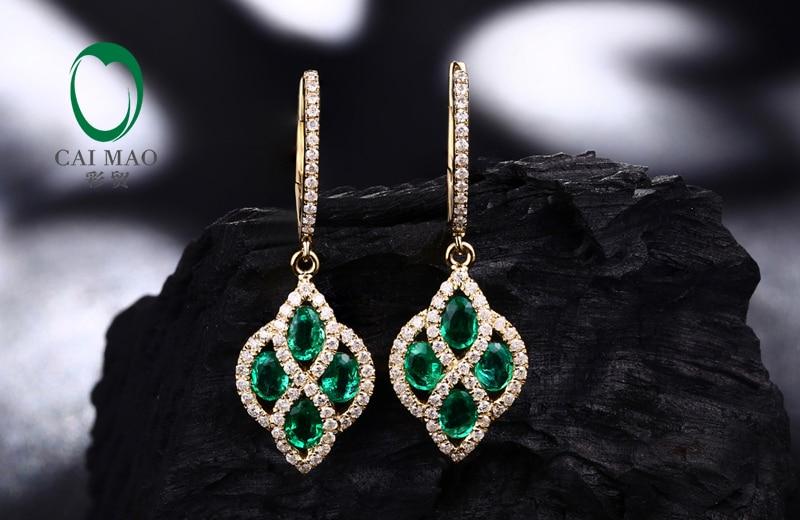 Perhiasan Caimao Romantis 14 K Kuning Emas Natural Emerald & Berlian - Perhiasan bagus - Foto 3